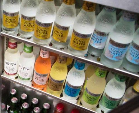 bottled drink in a bar fridge