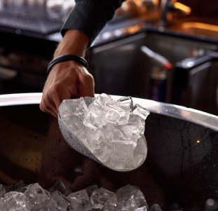 ice from a bar ice machine